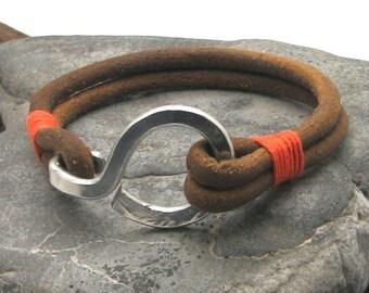 Men's leather bracelet.Multi strand natural leather bracelet with hammered metal work hook clasp.Gift for him.