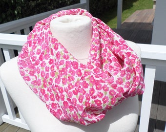 Snood loop scarf pink and white lineva women neck scarf