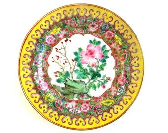 Famille Jaune, Chinese Plate, Pink Chrysanthemum, Vintage
