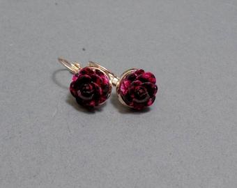 Pink & Black Rose Earrings - Rose Earrings - Flower Earrings - Spring Floral Earrings - Rose Gold Earrings - Leverback Earrings
