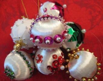 Vintage Christmas Sequin Ornaments / Handmade Ornaments / Feather Tree Ornaments / Small Ornaments