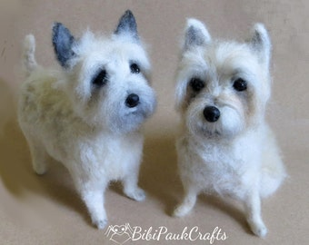 Needle Felted Miniature Dog OOAK Light Cairn Terrier Custom Pet Portrait Special Order