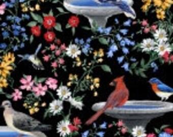 "Birds of a Feather Bird Bath w/Birds,Blank Textile 45""wide"