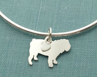 English Bulldog Bangle Bracelet, Sterling Silver Personalize Pendant, Breed Silhouette Charm, Rescue Shelter, Memorial Gift
