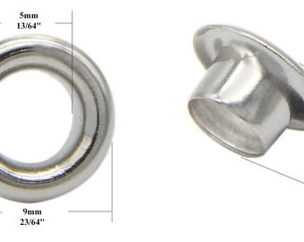 Surgical Stainless Steel Silver Tone Round Grommet Eyelet for Leather Craft 5 mm Inner Diameter