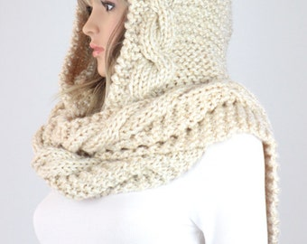 Knitting Scarf Patterns Infinity Scarf : Montreal hooded scarf pattern 32 knit infinity