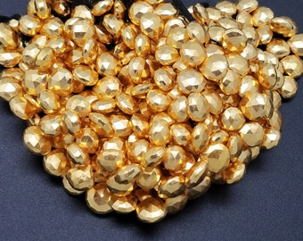 10 - 11mm Gold Pyrite Coated Hearts, 7.5 inch