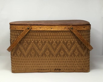 Vintage Picnic Basket Vintage Wicker Basket Wood Wicker Farmers Market Basket