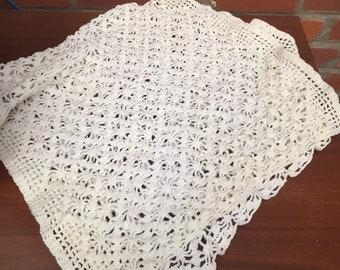 Vintage White Crochet Rectangular Table Runner Covering