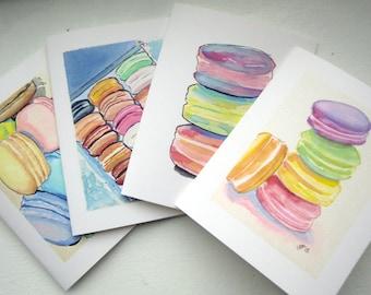Macaron Watercolor Art Notecards, Set of 4