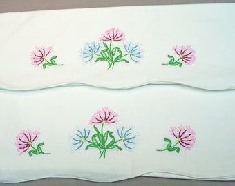 Vintage Pillowcases 1940's With Hand Embroidered Flowers 1930's Unused Clean