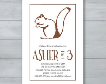 Squirrel Birthday Party Invitation  |  Squirrel Party Invite  |  Nuts Birthday Invitation