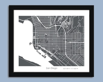 San Diego Zoom view map, San Diego city map art, San Diego wall art poster, San Diego decorative map