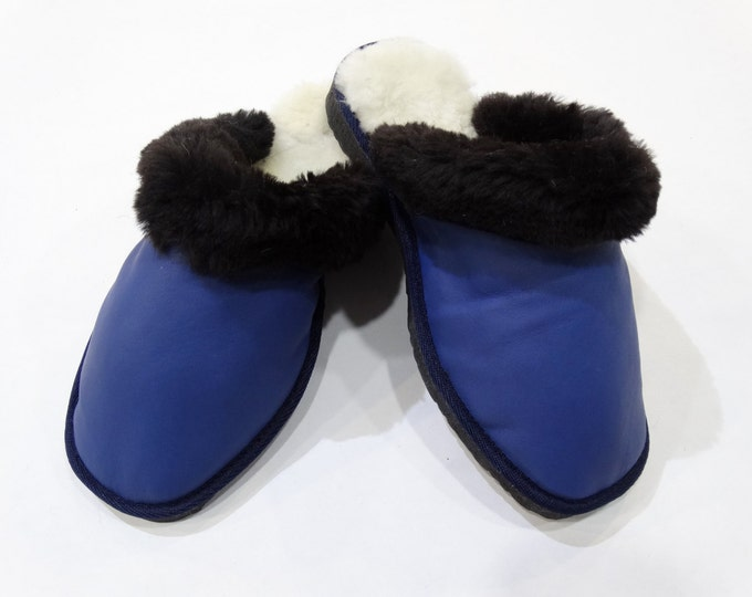 Women Slippers,Leather Slippers,Blue Slippers F449