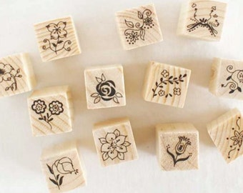 12 pcs Flower Wooden Rubber Stamp Set, Wedding Stamp, Craft Supplies, Journal Accessories, Rubber Stamps - STM007