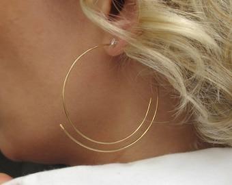 Threader Hoop Earring, Lightweight Hoops, 14K Gold Filled Hoops, Everyday Earrings, thin Earrings, Elegant Jewelry Swirl Gold Hoops, Fashion