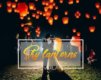35 Sky lanterns overlays, Wedding overlays