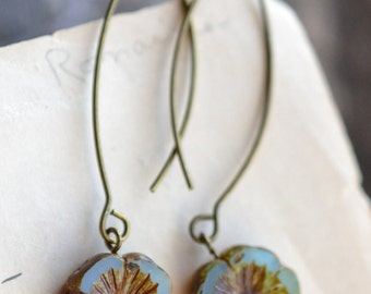 Blue Antique Earrings, Czech Glass Beads, Brass, Neo Vintage Jewelry