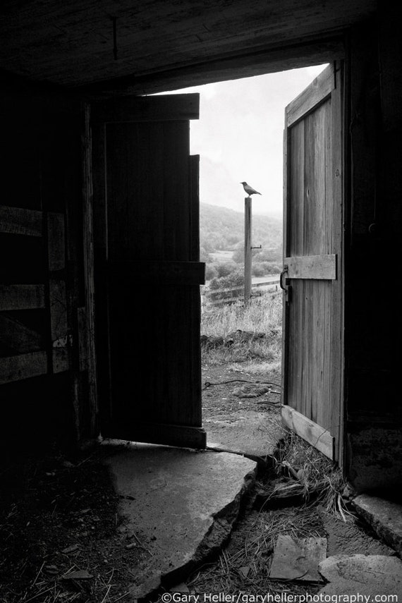 Old Barn Doors View From Within Black And White Fine Art