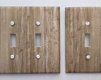 Rustic Wood Light Switch Plate Cover grey gray brown image 82 // SAME DAY SHIPPING**