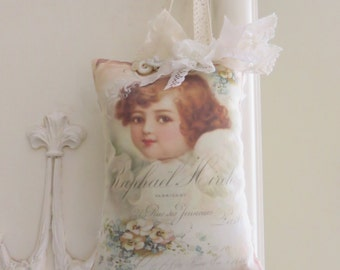 Angel Prayer Pocket Pilllow, Gift Sachet, FREE USA SHIPPING, Lace Prayer Pocket, gift tag, Mother, Get Well, Friend Gift, Cottage, Vintage