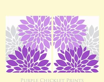 "Purple Flower Bursts Nursery Wall Art Lilac Gray Floral Art 2 - 11"" x 14"" Prints Modern Wall Art Set Prints Home Decor 169ab"