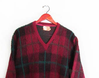 vintage sweater / grandpa sweater / mohair sweater / fuzzy sweater / 1960s Campus plaid mohair v neck sweater Medium
