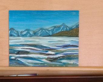 Lake George Frozen in Winter pastel drawing, wall art, home decor, winter scene