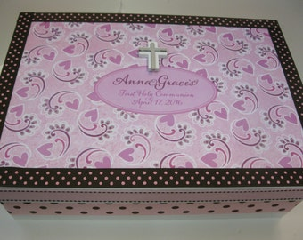 1st Communion Keepsake Box - Pinksand lavenders, Brown and White Paisely w Cross