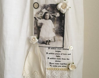 Antique baby dress altered assemblage A girl and her doll