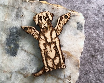 Angel Puppy Wooden Pendant