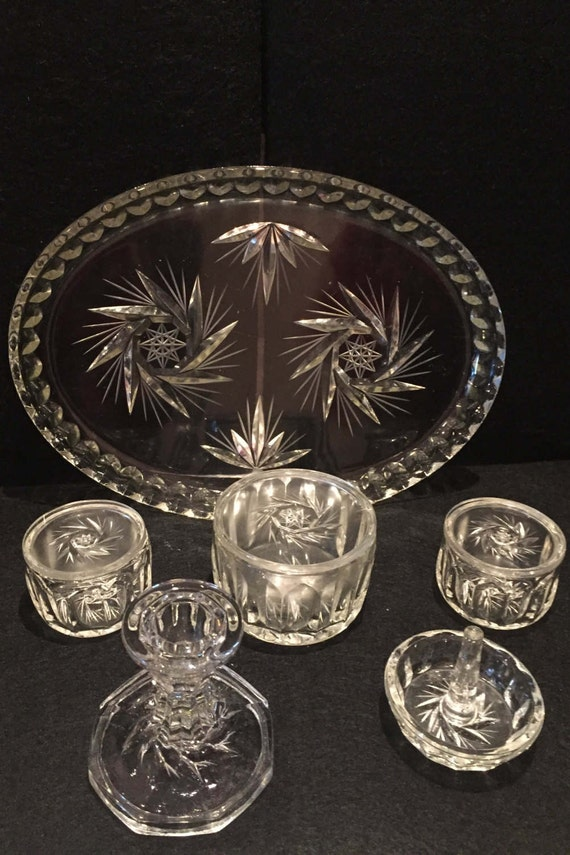 Vintage Clear glass Dressing table set / Trinket / Vintage