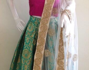 Brocade skirt and Raw silk crop top with dupatta