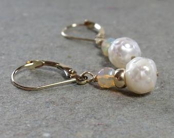 Opal Earrings White Pearls October, June Birthstone 14kt 14 kt Leverback Earrings Gift for Her