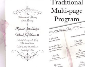 Traditional Wedding Programs (8 pages) Classic Wedding Program Ribbon Wedding Program