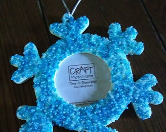 Blue Beaded Snowflake Photo Frame Ornament