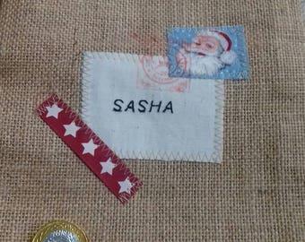SALE/Stockings Sasha /one only /reduced /hessian stockings/santa stockings/personalized stockings
