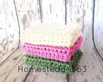 Crochet Washcloths, Cotton Wash Cloth, Cleaning Cloth, Ecofriendly, Reusable, Set of 3, Crochet Washcloths