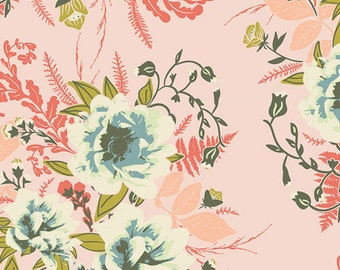 "Forest Floor Fabric from Art Gallery ""Wild Posy Flora"" by Bonnie Christine. Pink Floral Fabric. 100% cotton. FOR-47700"