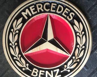 Mercedes Benz Carved Wooden Sign
