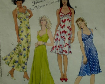 Halter Sundress Pattern, Laura Ashley, Flared Skirt, Gathered Bustline, Empire Waist, McCalls No. 4444 Size  4 6  OR 8  10 OR 12 14 16 18