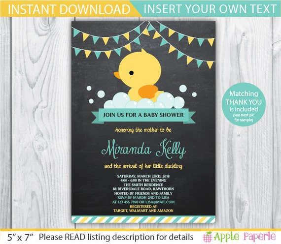 Duck baby shower invitation duck baby shower invites stopboris Image collections