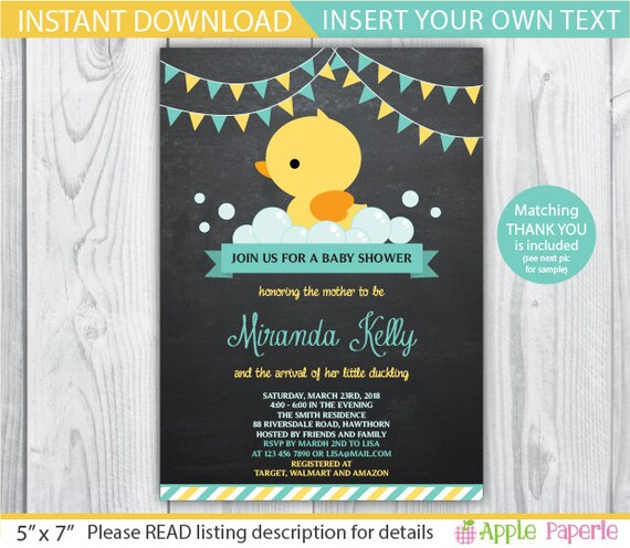 Duck baby shower invitation duck baby shower invites duck baby shower invitation duck baby shower invites rubber duck baby shower invite duck invitation rubber duck invitation instant stopboris Images