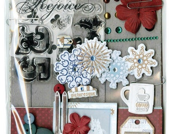 Bo Bunny Tis' The Season Ephemera - Tis The Season Ephemera - Ephemera - Tags - Buttons - Chipboard - Cardstock - Playing Cards - 4-015