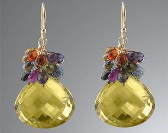 Josephine, Hand made, Designer, Lemon Topaz, Sapphires, Gold Earrings, A great gift for her, Valentin's day, Anniversary, Stylish, Artistic,