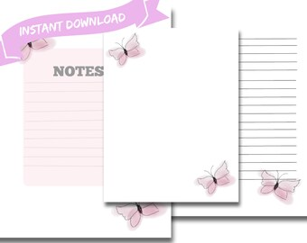 Printable stationary set| Lined paper| Pastel| Watercolour| Butterfly| INSTANT DOWNLOAD