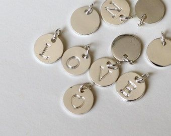 10mm initial Charm, silver Letter charms, Initial Round Disc, Can Add to necklace or Bracelet, Personalized Initial Charm