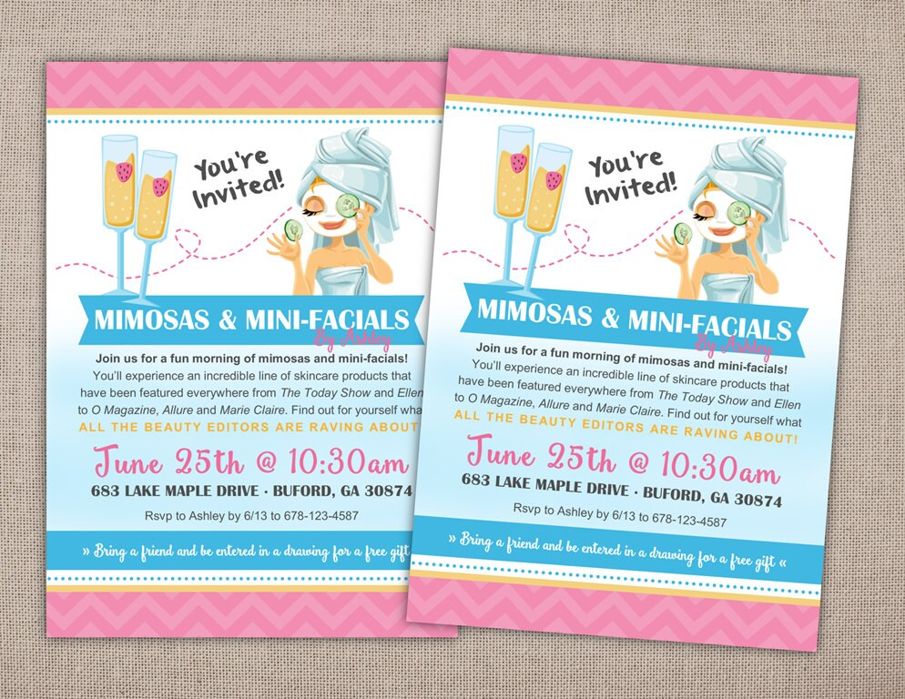 SPA PARTY Invitation Printable Rodan and Fields Spa