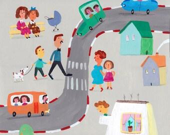 big street   Original Illustration , art for kids room, wall decor , art for boys room