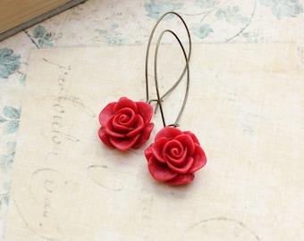Red Rose Earrings Long Dangle Earrings Resin Flower Earrings Victorian Romantic Floral Accessories Rose Garden Wedding Bridesmaids Earrings